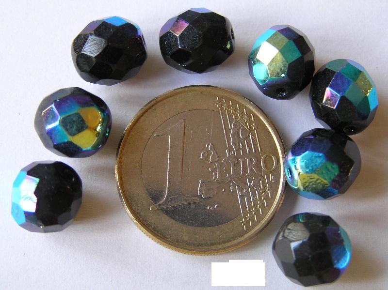0010417 Zwart facet geslepen met AB 10 mm.-0