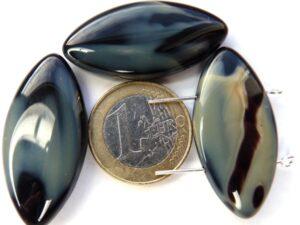 0020040 Pracht grijs/zwart gemeleerde grote kralen met 2 gaten.-0