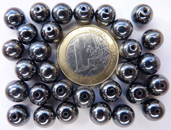 0020070 Hematietkleurig rond 8 mm. 25 stuks-0