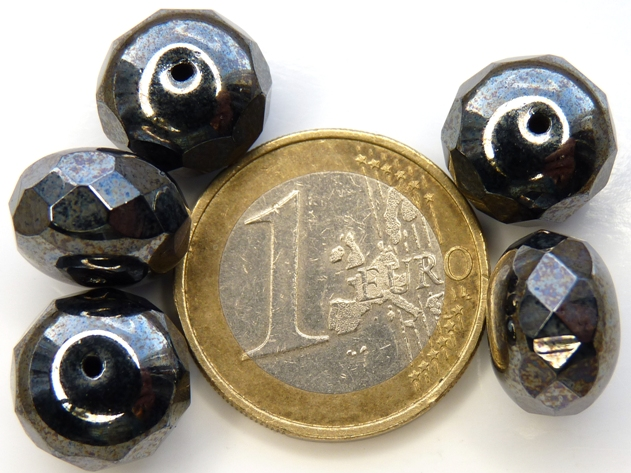 0020235 Hematite Rondelle facet 14 x 9 mm. 5 Pc.-0