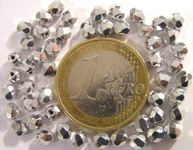 0020259 Zilverkleurig facet 4 mm. 50 stuks-0
