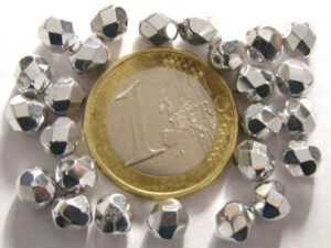 0020260 Zilverkleurig facet 6 mm. 25 stuks-0