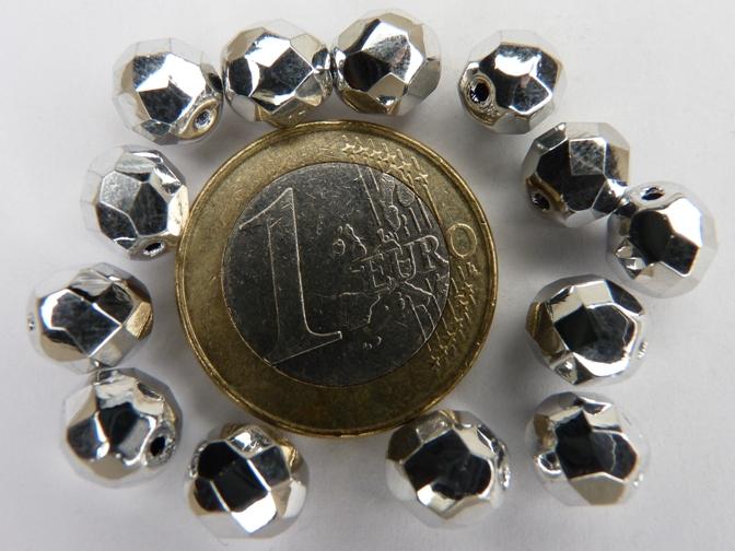 0020261 Zilverkleurig facet 8 mm. 13 stuks-0