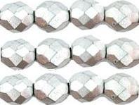0020274 Matte metallic alluminium facet 8 mm. 13 Pc.-0