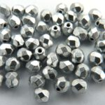 0020275 Matte metallic Aluminium facet 3 mm. 65 Pc-0