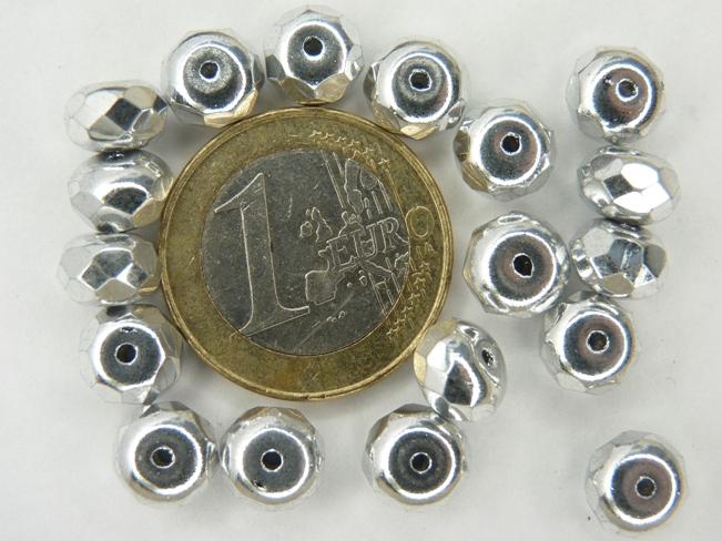 0020278 Full silver Rondelle, rand facet 8 x 5 mm. 18 Stuks-0