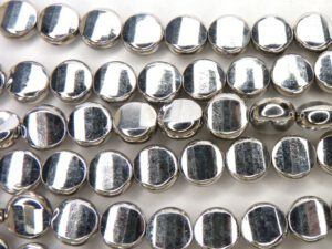 0020279 Full silver Lamel facet schijf. 9 x 6 mm. 8 Stuks-0