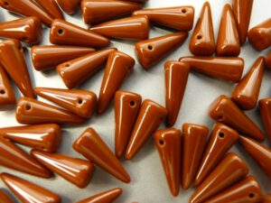 0030081 Spike Beads Opaque Brown 5 x 13 mm. 16 stuks-0
