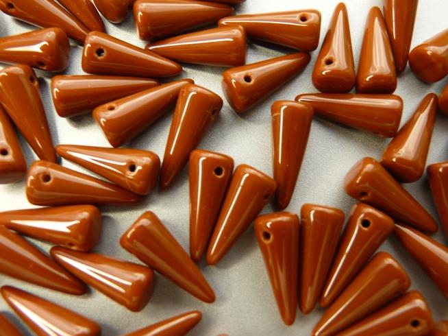 0030081 Spike Beads Opaque Brown 5 x 13 mm. 16 stuks-0