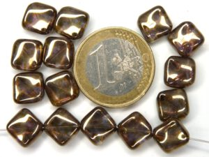 0030083 Crystal Brown Lila Gold Luster gegolfd vierkantje. 15 Pc.-0
