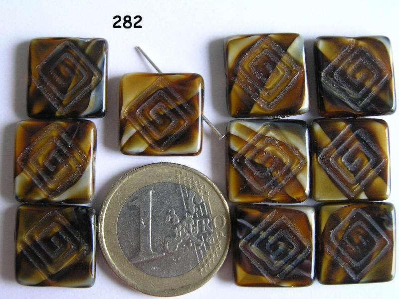 0030112 Bruin gemeleerd vierkant 10 Pc.-0