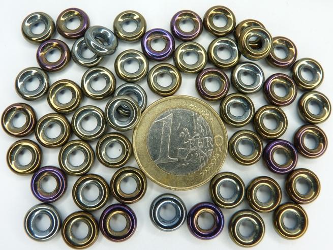 0030084 Ringetjes Iris brown 9 x 3 mm. 50 Pc.-0