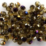 0030231 Topaz facet met purple Iris coating, 3 mm.-0