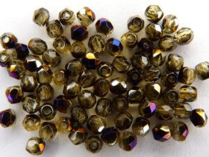 0030231 Topaz facet met purple Iris coating, 3 mm.-0