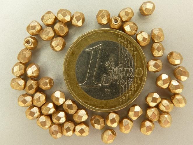 0030249 Matte metallic Gold Flax facet 4 mm. 50 Pc.-0