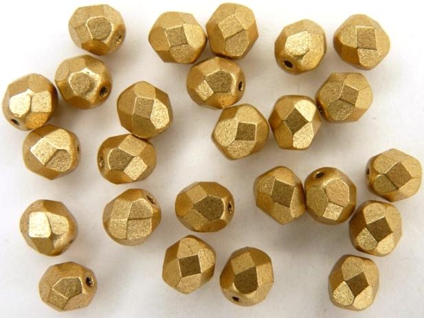 0030250 Matte Metallic Gold Flax facet 6 mm. 25 pc-0