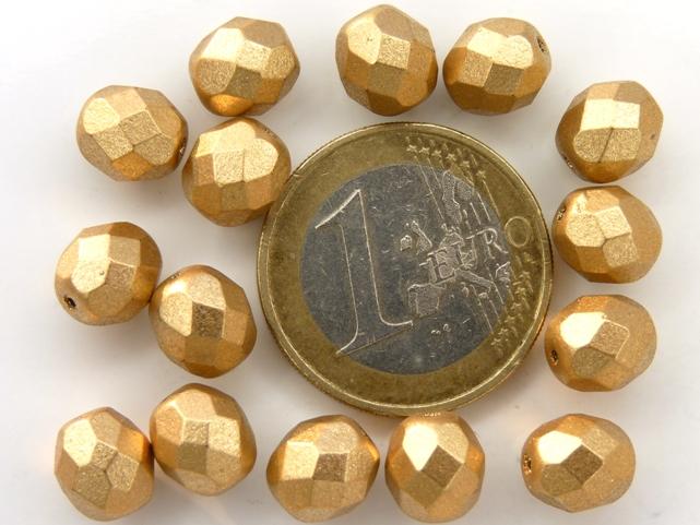 0030251 Matte Metallic Gold Flax facet 8 mm. 15pc-0