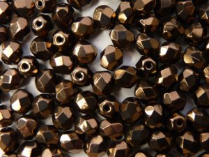 0030252 Jet Dark bronze facet 6 mm. 20 Pc.-0