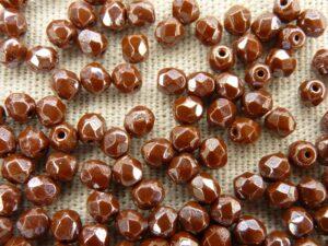0030259 Opaque medium Chocolate brown met hematiet facet, 4 mm.-0