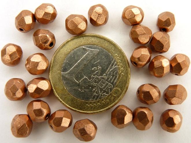 0030264 Matte metallic Copper facet 6 mm.-0