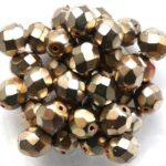 0030267 Metallic Bronze  Copper  facet, 8 mm. 12 Pc.-0