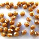 0030270 Opaque White Rose Gold /Topaz facet 3 mm. 50 Pc.-0
