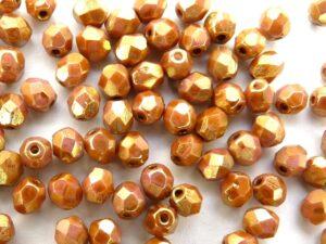0030271 Opaque White Rose Gold /Topaz facet 4mm. 50 stuks-0