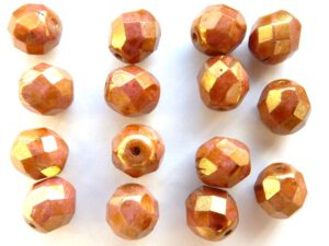 0030273 Opaque White Rose Gold /Topaz Luster facet 8 mm. 15 Pc.-0