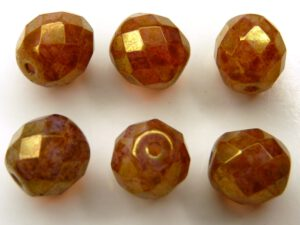 0030286 White Opal Gold Luster facet 10 mm. 6 Pc.-0