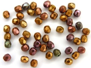 0030302 Silky Metallic Purple Gold mix facet 4 mm. 50 Pc.-0