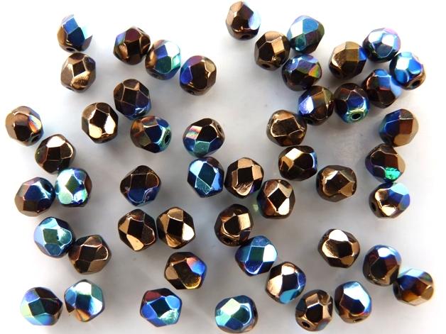 0030303 Jet Bronze AB facet 4 mm. 50 Pc.-0