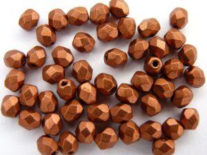 0030305 Matte Metallic Dark Copper Facet 4 mm.-0