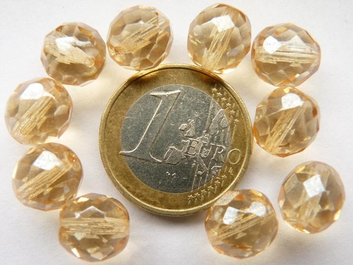 0040206 champagnekleurig facet 10 mm.-0