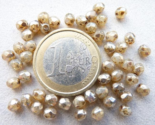 0040218 Opaalwit met zilver picasso, facet 4 mm. 40 Pc.-0