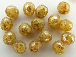 0040220 Opaalwit met zilver picasso, facet 8 mm.-0