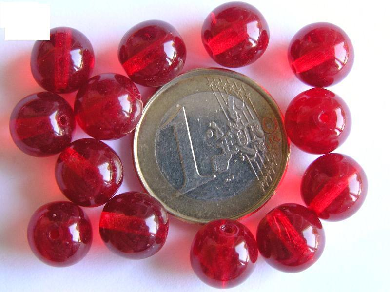 0050015 Donkerder helder rood rond. 10 mm. 13 Pc.-0