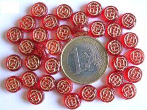 0050041 Siam Red rond schijfje met goudkleurig werkje 35 Pc.-0