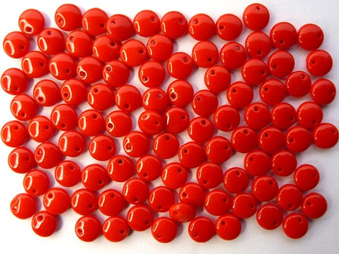0050059 Dekkend rood, lentil 6 x 3 mm. 100 stuks.-0