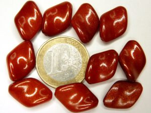 0050022 White Alabaster met Goldish Red Coating, Twist 10 stuks-0