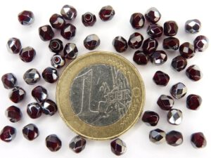 0050215 Garnet met half steel coating. facet 4 mm.-0