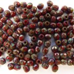 0050241 Dark Coral Red – Picasso, facet, 3 mm.-0
