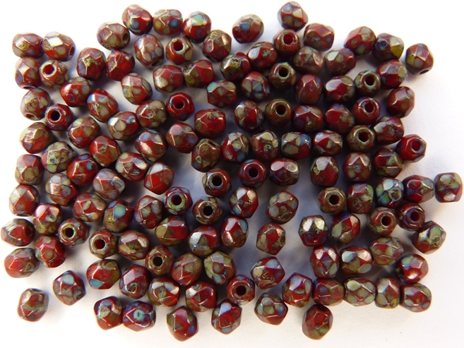 0050241 Dark Coral Red - Picasso, facet, 3 mm.-0