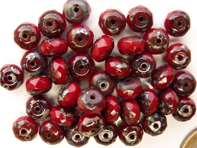 0050252 Dark Opaque Red Silver Travertin Facet Rondelle 9 x 6 mm-0