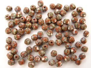 0050263 Coral Red - Silver Picasso facet, 4 mm. 40 stuks-0