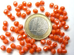 0060107 Opaque Orange Hematite Facet 4 mm. 40 Stuks-0