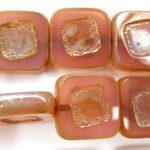 0070004 Pink Opal Silver travertin, Table cut 14 x 5 mm. 4 Pc-0