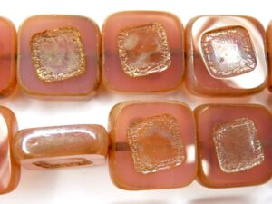0070004 Pink Opal Silver travertin, Table cut 14 x 5 mm. 4 Pc-0