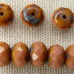 0070360 Rosanine / Travertin, rondelle (donut) Facet 9 x 6 mm.-0