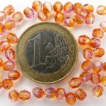 0070366 Crystal met Fuchsia Cantaloupe coating facet 4 mm.-0