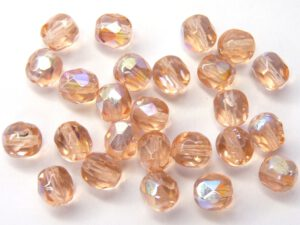 0070388 Light Peach AB facet 6 mm. 25 Pc.-0